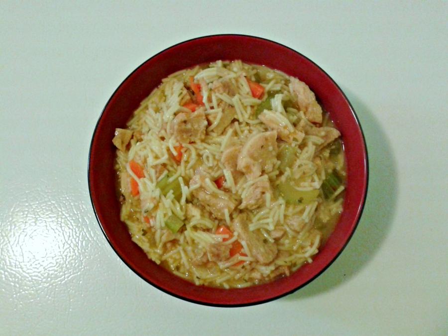 soupe poulet et nouille vegan