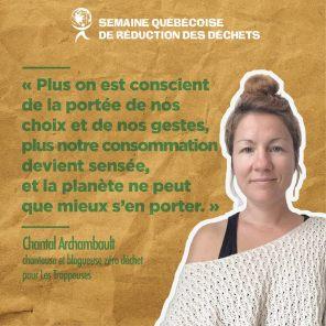 Chantal Archambault, auteure-compositrice-interprète et blogueuse zéro déchet pour Les Trappeuses